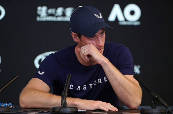 Andy Murray á blaðamannfundinum í dag.