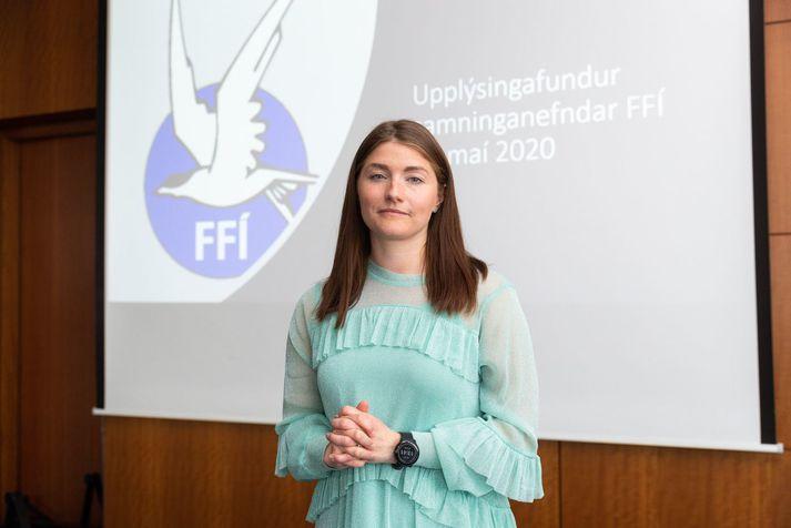Frá upplýsingafundi FFÍ vegna kjaradeilna við Icelandair. Guðlaug Líney Jóhannsdóttir, formaður Flugfreyjufélags Íslands, hefur staðið í ströngu að undanförnu.