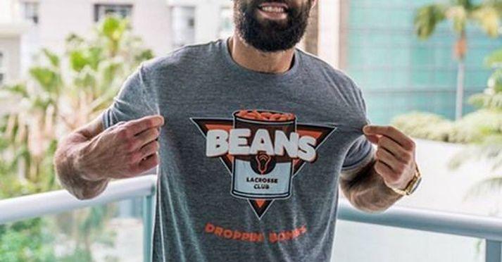 Auglýsing fyrir varning hjá gervifélaginu Beans Lacrosse Club.