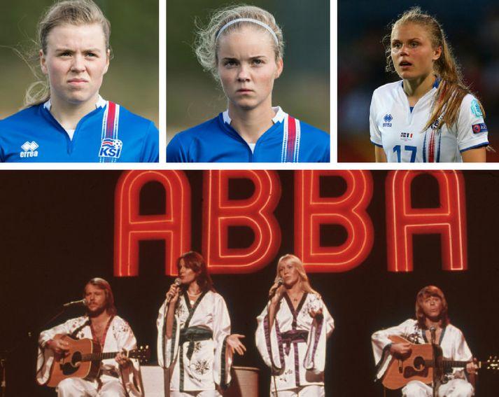 Ungu vítaskytturnar Ingibjörg Sigurðardóttir, Andrea Rán Snæfeld Hauksdóttir og Agla María Albertsdóttir en fyrir neðan þær er hljómsveitin ABBA.