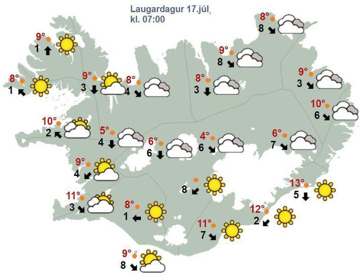 Sólin lætur sjá sig á Suður- og Vesturhlið landsins í dag.
