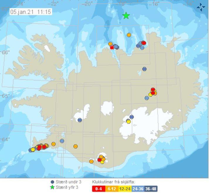 Jarðskjálftakort Veðurstofunnar. Græna stjarnan táknar skjálftann norður af Grímsey í gær sem var 3,3 að stærð. Skjálftinn í morgun við Gjögurtá var talsvert nær landi.