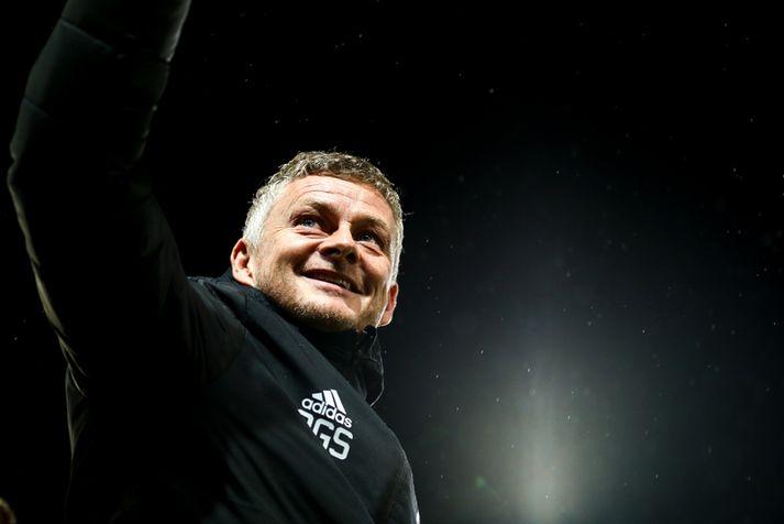 Ole Gunnar Solskjær, knattspyrnustjóri Manchester United, var skælbrosandi eftir leik.