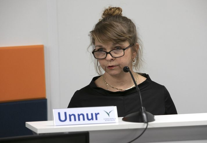 Unnur Sverrisdóttir, forstjóri Vinnumálastofunar, á upplýsingafundi almannavarna 1. apríl 2020.
