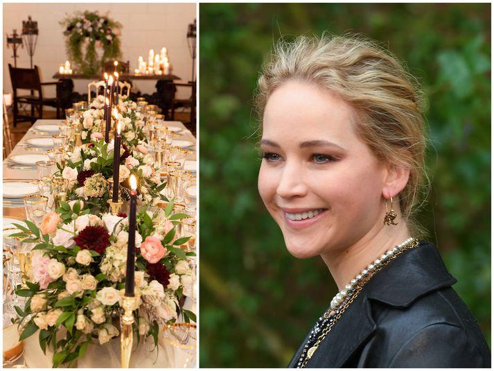 Jennifer Lawrence gifti sig í fallegri lúxusvillu á laugardag.