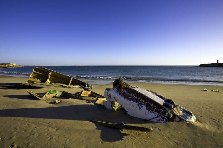Skipbrot eru mjög algeng nærri bænum Nouadhibou, norðarlega í Máritaníu.