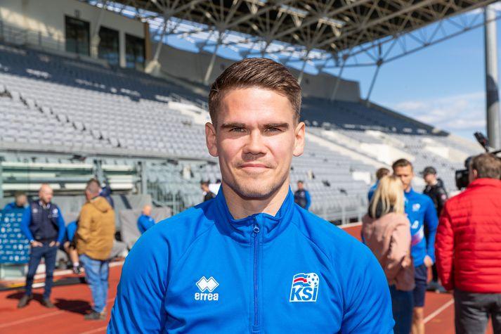 Viðar Örn Kjartansson á Laugardalsvelli í morgun.