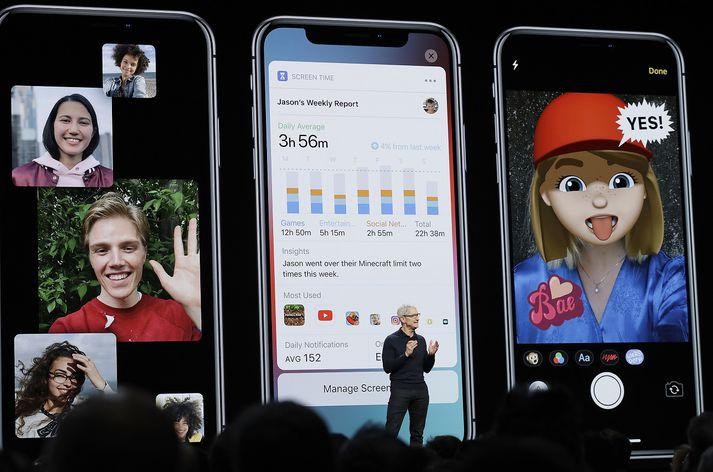 Tim Cook, forstjóri Apple, á WWDC í gær.
