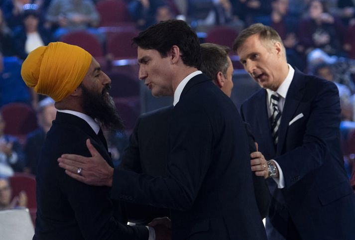 Jagmeet Singh og Justin Trudeau ræðast við fyrr í mánuðinum.