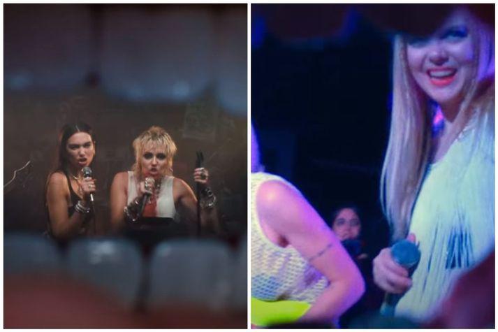 Til vinstri má sjá stillu úr tónlistarmyndbandi Miley Cyrus og Dua Lipa sem gefið var út í gær. Til hægri má sjá stillu úr tónlistarmyndbandi Dream Wife sem kom út í maí.