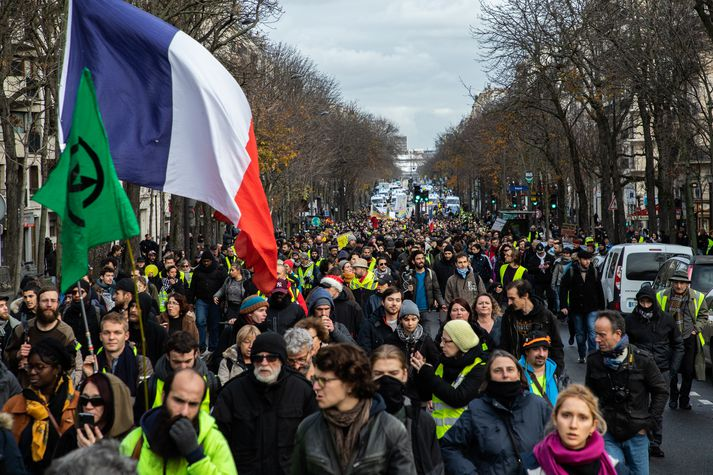 Frá mótmælum í París í gær.