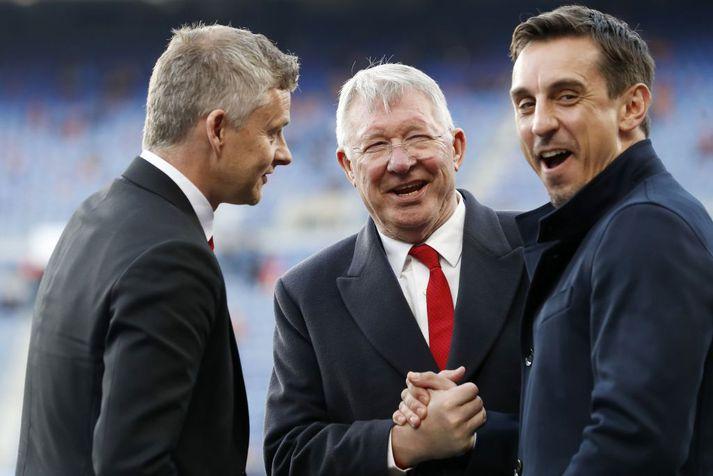 Sir Alex Ferguson var lærimeistari bæði Gary Neville og Ole Gunnar Solskjær. Solskjær fetar í fótspor Sir Alex sem stjóri Manchester United, Neville hefur hins vegar engann áhuga á því