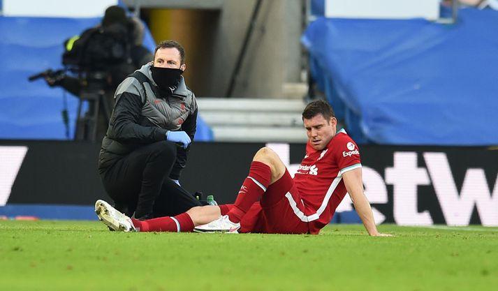 Milner fór meiddur af velli í leik Brighton & Hove Albion og Liverpool í gær.