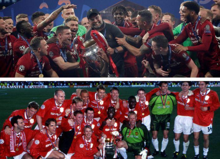 Liverpool og Manchester United unnu Meistaradeildina með tuttugu ára millibili með þessum liðum, Liverpool 2019 og Manchester United 1999.