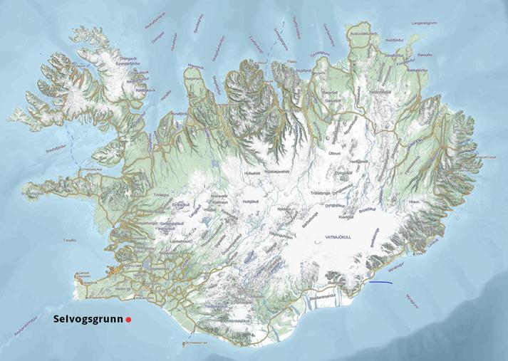 Handleggurinn kom í veiðarfæri báts á Selvogsgrunni í maí 2017. Selvogsgrunn er merkt með rauðum punkti á korti.