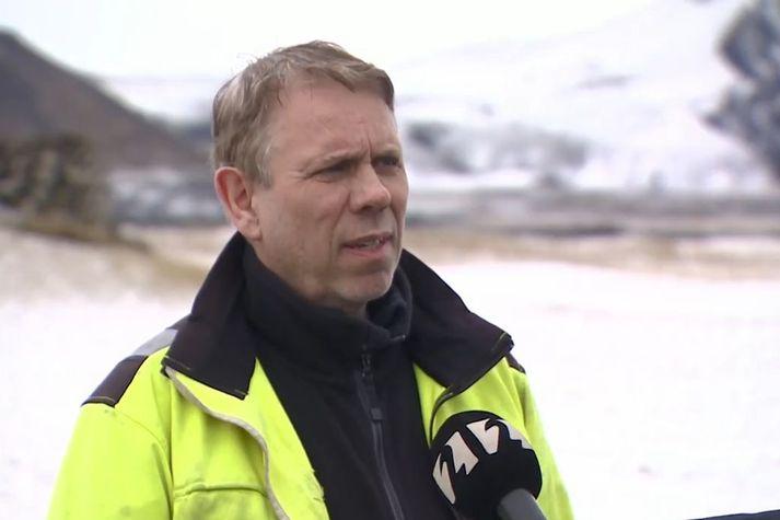 Gísli Grétar Sigurðsson frá Hrauni við Grindavík er einn af landeigendum Geldingadala.