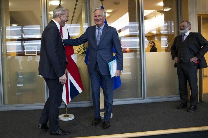 Breski Brexitmálaráðherrann Steve Barclay og Michel Barnier, aðalsamningamaður ESB, funduðu í morgun.