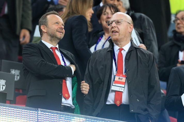 Ed Woodward og Avram Glazer eru ekki hátt skrifaðir hjá stuðningsmönnum Manchester United.