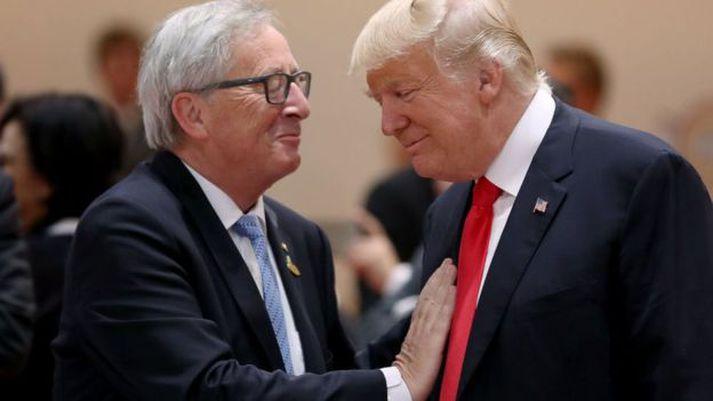 Jean-Claude Juncker og Donald Trump meðan allt lék í lyndi.