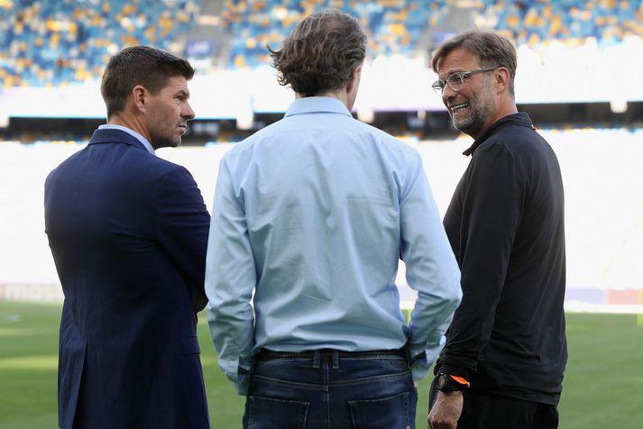 Steven Gerrard og Jürgen Klopp. Með þeim er Steve McManaman.