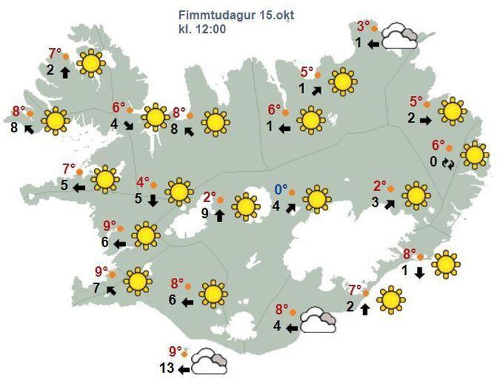 Það spáir bjartviðri víðast hvar í dag.