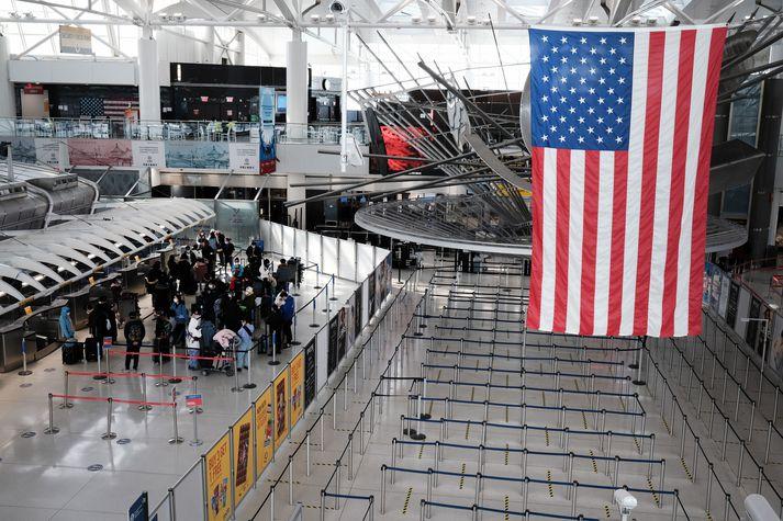 Frá JFK-flugvellinum í New York.