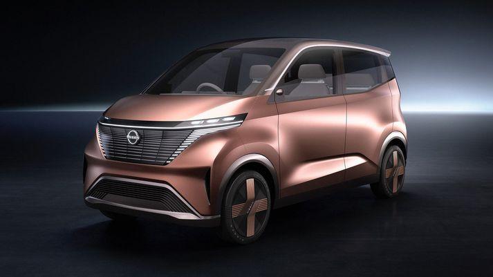 """Kassalaga útlit Nissan IMk minnir helst á útlit japönsku """"kei""""-bílanna svokölluðu sem hannaðir eru til notkunar í stórborgum."""