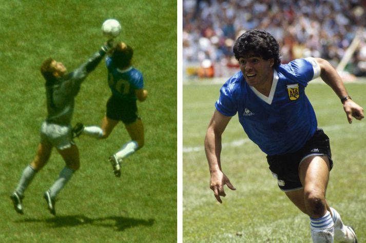 Markið fræga sem Diego Maradona skoraði með hendi guðs á HM í Mexíkó 1986.