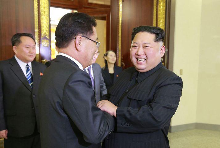 Kim einræðisherra tók vel á móti sendinefndinni.
