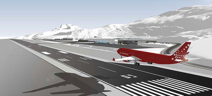 Grafísk mynd af þotu Air Greenland að lenda í Nuuk eftir stækkun flugvallarins.