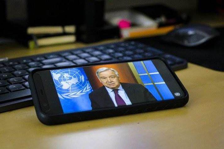 António Guterres ræddi við fréttamenn með fjarfundabúnaði.