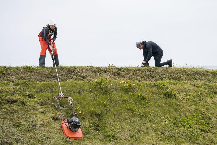 Slegið í Grindavík með frjálsri aðferð í síðustu viku.