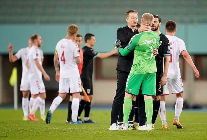 Hjulmand fagnar eftir 4-0 sigurinn á Austurríki.