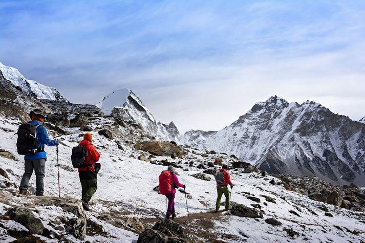 Everest er að finna á landamærum Nepal og Kína, en kínversk stjórnvöld greindu frá lokun fjallsins sín megin í gær.
