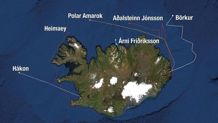 Hér má sjá staðsetningu leitarskipanna síðdegis í dag, samkvæmt korti Hafrannsóknastofnunar.