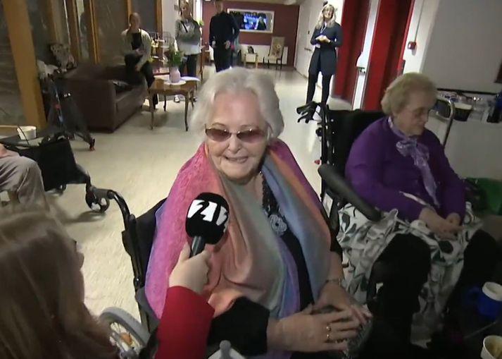 Edda María Magnúsdóttir, 85 ára gamall íbúi á Hrafnistu í Hafnarfirði.