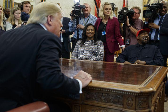 Donald Trump og Kanye West á fundi þeirra í Hvíta húsinu í gær.