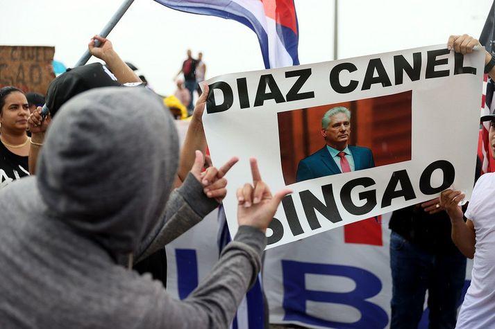 Frá mótmæltum gegn Miguel Díaz-Canel og kommúnistastjórn Kúbu í Miami í Bandaríkjunum.