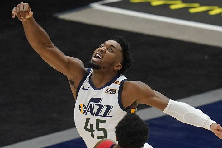 Donovan Mitchell hefur verið í fararbroddi hjá liði Utah Jazz í vetur en bakvörðurinn snjalli er með 25,7 stig og 5,5 stoðsendingar að meðaltali í leik.
