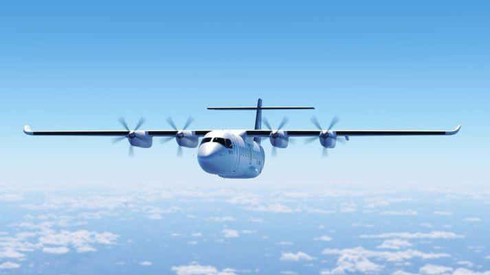 Rafmagnsvél frá sænska fyrirtækinu Heart Aerospace. Stefnt er að því að þessi 19 sæta vél verði farin að fljúga með farþega eftir örfá ár.