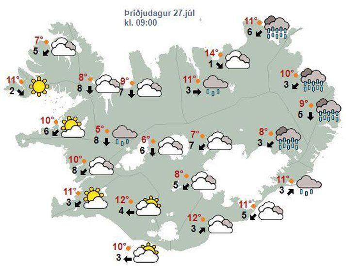 Vætusamt verður á Norðaustur- og Austurlandi.