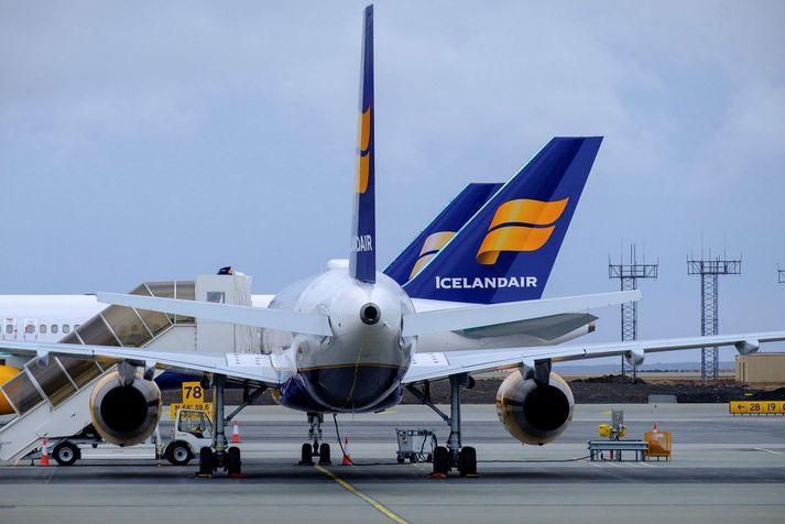 Flugfloti Icelandair á Keflavíkurflugvelli í samgöngubanni