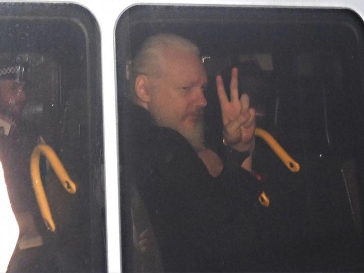 Julian Assange er í dag í Belmarsh-öryggisfangelsinu í Lundúnum.
