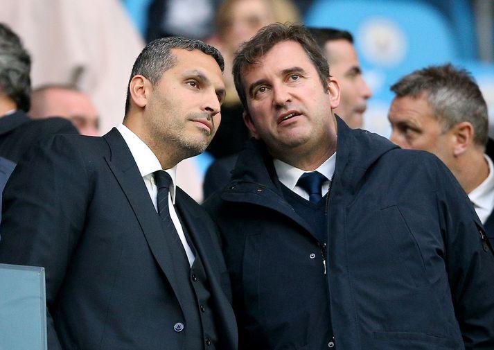 Ferran Soriano ásamt Khaldoon Al Mubarak, stjórnarformanni Manchester City.
