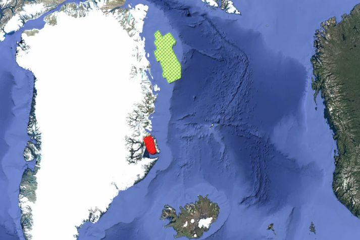 Svæðin norðan Íslands sem Grænlendingar bjóða út til olíuleitar. Rauða svæðið er á landi við Scoresby-sund en græna svæðið á hafsbotni undan Norðaustur-Grænlandi.