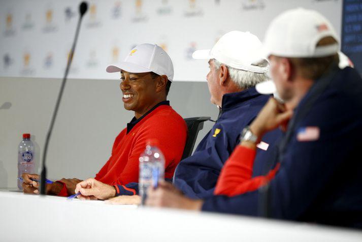 Tiger Woods á blaðamannafundi fyrir Forsetabikarinn.
