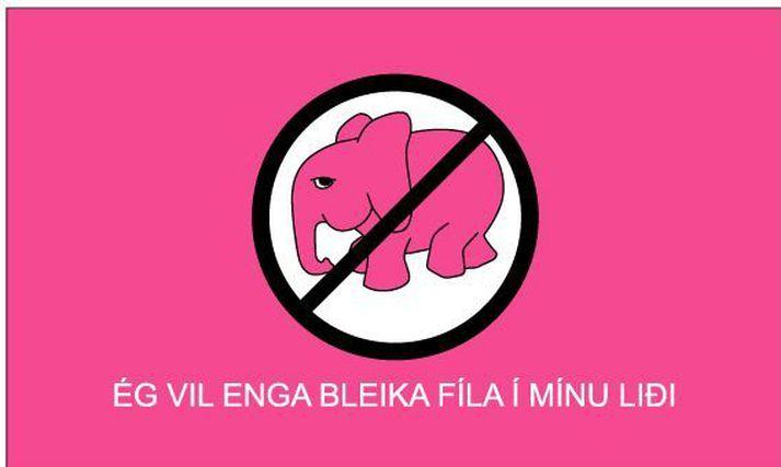 Bleiki fíllinn vísar til nauðgara, þeirra sem nauðga.