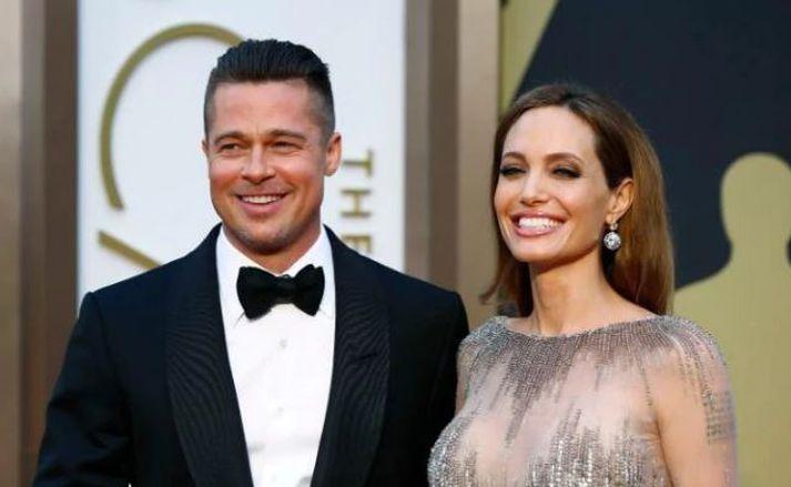 Brad Pitt og Angelina Jolie meðan allt lék í lyndi.