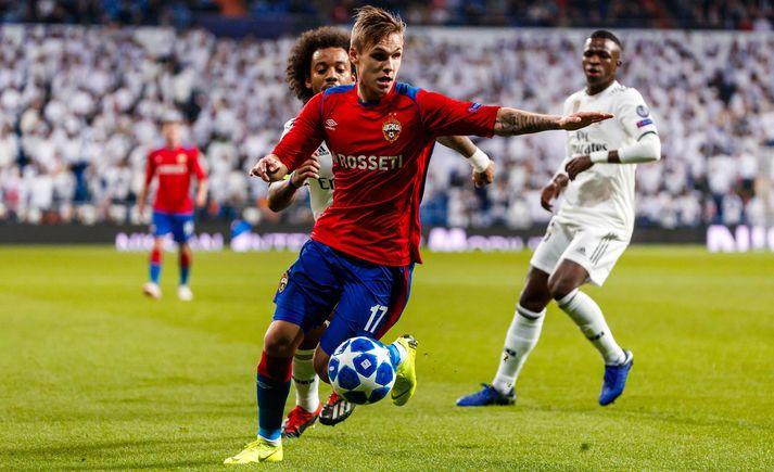 Arnór Sigurðsson kom inn á sem varamaður á 61. mínútu. Hér er hann í leik gegn Real Madrid í Meistaradeild Evrópu.