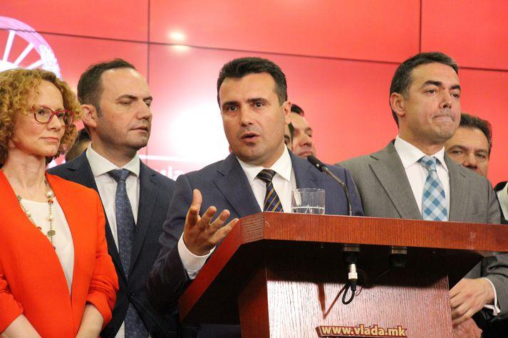 Zoran Zaev, forsætisráðherra hins nýja Lýðveldis Norður-Makedóníu, tilkynnti um samkomulagið á blaðamannafundi í Skopje, höfuðborg ríkisins, í dag.